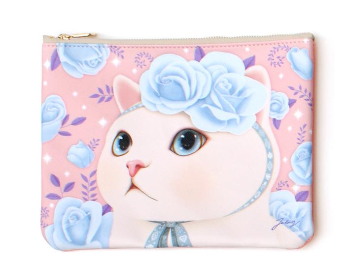 パステルカラーのピンクとブルーの色合わせがきれい♪<br>気品あふれる白猫がとってもかわいい♪