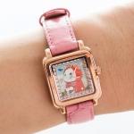 【ワケあり】猫の腕時計 赤ずきん ピンクゴールド/ピンク