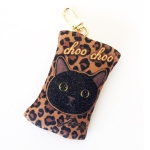 猫のフェルトコインケースチャーム 黒レオパード