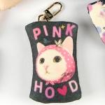 猫のフェルトコインケースチャーム ピンクずきん