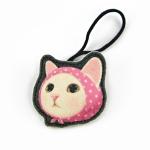 猫のヘアゴム ピンクずきん