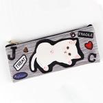 猫のフラットペンケース バンザイ