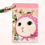 猫のパスケース ネックストラップ付き2 ピンクずきん