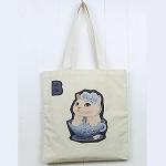 猫のコットントートバッグ ブルーローズ