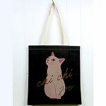 猫のコットントートバッグ グレイ