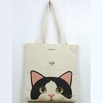 猫のコットントートバッグ 白黒