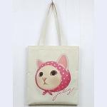 猫のコットントートバッグ ピンクずきん
