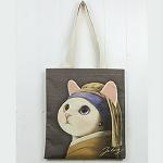 猫のコットントートバッグ ターバン