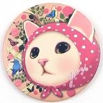 猫のミニミラー ピンクずきん