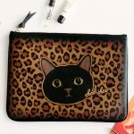 猫のミニクラッチ 黒レオパード