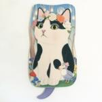 猫のシルエット フェルトポーチ 白黒フラワー