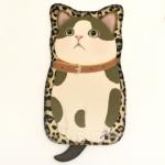 猫のシルエット フェルトポーチ 白茶