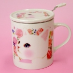 猫のマグカップ 茶こし付 白