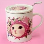 猫のマグカップ 茶こし付  ピンクずきん