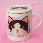 猫のマグカップ 茶こし付 白黒