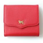 猫のワンポイント二つ折り財布 レッド