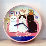 猫の壁掛け時計 トリオ