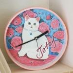 猫の壁掛け時計 バラ