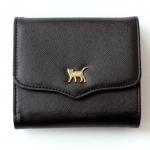 猫のワンポイント二つ折り財布 ブラック