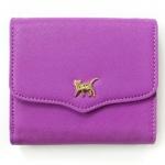 猫のワンポイント二つ折り財布 パープル