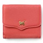 猫のワンポイント二つ折り財布 オレンジピンク