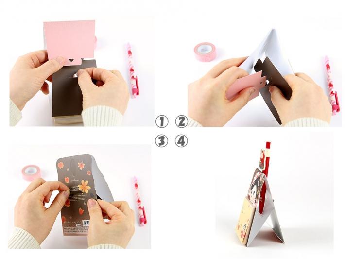 単なるふせんではなく、<br>組み立てると、ペンが立てられます♪<br>※他の絵柄で説明しています。