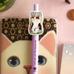 猫のキラキラマスコットボールペン 白黒フラワー