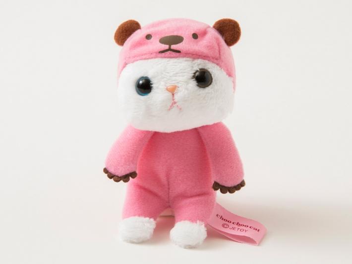 ピンクのくまさんに扮した白猫のマスコット♪<br>なんともいえない表情がキュート!