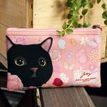 猫のスリムポーチ2 黒