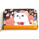 猫の長財布 ローズブラック