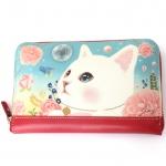 猫の長財布 白