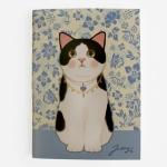 猫のシンプルノート A6 白黒フラワー