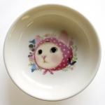 猫の小皿 ピンクずきん