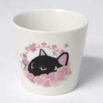猫の湯のみ 黒