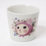 猫の湯のみ ピンクずきん