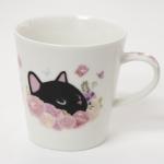 猫のマグカップ 黒