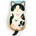 猫のシルエット フェルトポーチ 白黒