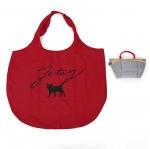 猫のワンポイントエコバッグ&ポーチ グレイ