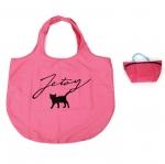 猫のワンポイントエコバッグ&ポーチ ホットピンク