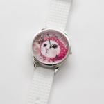 【ワケあり】猫のビッグフェイス腕時計 ピンクずきん シルバー/白