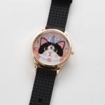 【ワケあり】猫のビッグフェイス腕時計 白黒 ピンクゴールド/黒