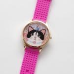 【ワケあり】猫のビッグフェイス腕時計 白黒 ピンクゴールド/ピンク