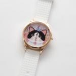 【ワケあり】猫のビッグフェイス腕時計 白黒 ピンクゴールド/白