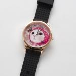 【ワケあり】猫のビッグフェイス腕時計 ピンクずきん ピンクゴールド/黒
