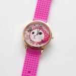 【ワケあり】猫のビッグフェイス腕時計 ピンクずきん ピンクゴールド/ピンク