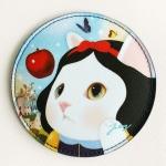 猫の丸型ハンディミラー 白雪姫