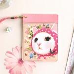 猫のパスポートケース ネックストラップ付き ピンクずきん