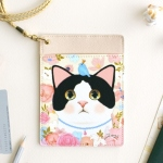 猫のパスポートケース ネックストラップ付き 白黒