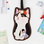 猫型ネームタグ 白黒フラワー