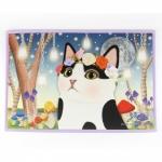 猫のインテリアマット 白黒フラワー